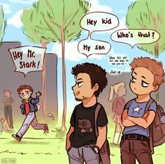 I'm procrastinating the whole day but have this small thing ♡ College AU? probably, what'd you expect from me So while Tony and Steve are either juniors or seniors, Peter is a freshman of course 😁 Love their dad and son relationship! Avengers Humor, Funny Marvel Memes, Dc Memes, Marvel Jokes, Meme Comics, Marvel Dc Comics, Marvel Avengers, Marvel Heroes, Disney Marvel