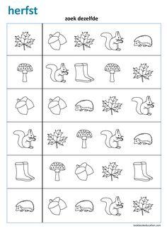 Thema Herfst. Zoek Dezelfde. Bekijk meer werkbladen voor kleuters en groep 3 op lookbookeducation.com/nl