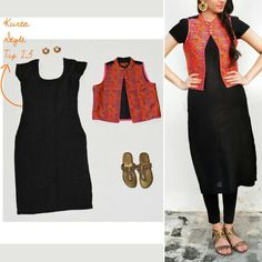 Merry Style Tip Were you wondering what to wear this Rakshabandhan? Look stunning in this ethnic jacket styled over a plain black kurta ➖➖ Jacket Style Kurti, Kurti With Jacket, Indian Attire, Indian Wear, Indian Outfits, Indian Style, Dress Neck Designs, Blouse Designs, Churidar Designs