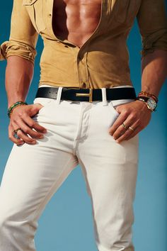 Tom Ford Shirt and jeans, Tom Ford Bracelet (right), Burkman Bros Watch, Cartier Ring Degs & Sal Stylish Men, Men Casual, Tom Ford Shirts, New York Fashion, Mens Fashion, Designer Belts, Ralph Lauren, Vogue, Swagg