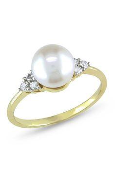 10K Yellow Gold 7.5-8mm White Pearl & Diamond Ring by Delmar on @HauteLook
