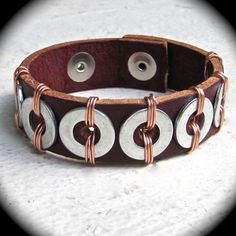 3/4 Inch Brown Leather Cuff with Copper by DesignsByLizzBarnes, $45.00