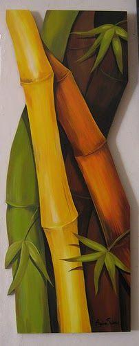 140 x 53 Afrique Art, Bamboo Art, Tropical Art, Painting On Wood, Watercolor Art, Modern Art, Canvas Art, Wall Art, Artwork