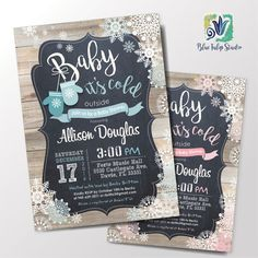 Baby it's Cold Outside. Baby Shower Digital by BlueTulipStudio