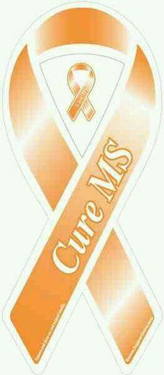 """Buy the """"Cure MS Awareness"""" Orange Ribbon Car Magnet. In memory of my grandma. Awareness Tattoo, Leukemia Awareness, Leukemia Quotes, Leukemia Tattoo, Leukemia Ribbon, Acute Lymphoblastic Leukemia, Multiple Sclerosis Awareness"""