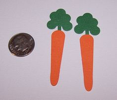 6 Premade Carrot Quickutz Sizzix Scrapbooking Paper Die Cuts / Card Toppers #Handmade