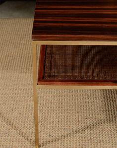 1stdibs.com   Ebony, brass and cane coffee table
