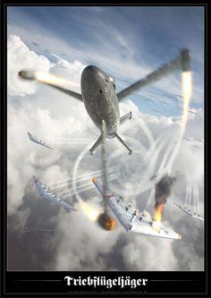 LUFTWAFFE . GERMAN AIR FORCE (WW2)Focke-Wulf Triebflügeljäger intercepting USAAF Northrop B-35s (hypothetical)