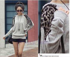 New women's autumn leopard bat sweater
