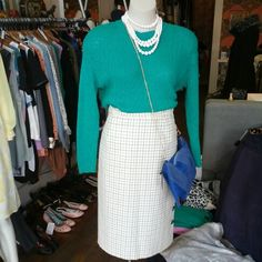 #minkpink #bobby #jean #bright #grass #green #knit #jumper $69 #vintage #check #skirt $35 #vintage #costume #jewellery #white #tier #necklace $15 and #minkpink #cobalt #chain #modernlove #clutch #bag $79