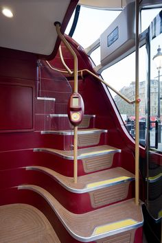 This is the prototype of Thomas Heatherwick's redesign of the iconic routemaster bus for London, unveiled last week.Heatherwick Studio, in January Bus Interior, Interior Staircase, New Routemaster, Thomas Heatherwick, New Bus, Take The Stairs, Double Decker Bus, London Bus, Architectural Digest