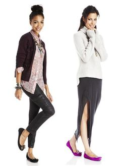 both outfits are cute to wear with flats