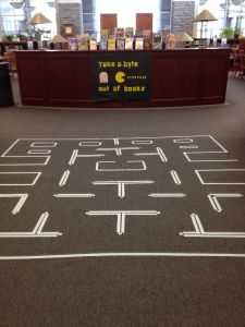 Pac Man takes over the library! #librarydisplay   tvahlsing