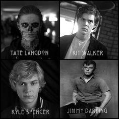 Evan Peters as Tate Langdon in Murder House, Kit Walker in Asylum, Kyle Spencer in Coven and Jimmy Darling in Freak Show