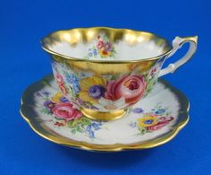 Bright Floral Bouquet Gold Crest Series Royal Albert Tea Cup and Saucer Set | eBay