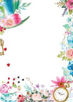 Alice In Wonderland Printables, Alice In Wonderland Clipart, Alice In Wonderland Invitations, Alice In Wonderland Tea Party Birthday, Alice And Wonderland Quotes, Wonderland Party, Tea Party Invitations, Shower Invitations, Free Birthday Invitation Templates