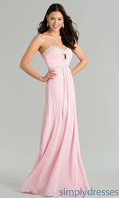 Long Strapless Prom Gown with Corset Top at SimplyDresses.com