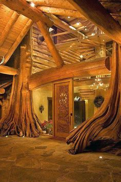 "Entrance to a true ""tree house"" log home . gorgeous use of wood . British Columbia photo via loghome Amazing Architecture, Architecture Design, British Architecture, Natural Architecture, Amazing Buildings, Building Architecture, Architecture Office, Log Cabin Homes, Log Cabins"