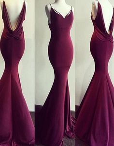 dark burgundy prom dress, long prom dress, mermaid prom dress, open back prom dress, cheap evening dress, BD25639