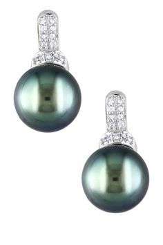 14K White Gold 8-8.5mm Black Tahitian Pearl & Pave Diamond Earrings