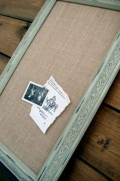 framed burlap pinboard