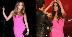 Jennifer Lopez e Sandra Bullock usam o mesmo vestido pink