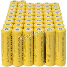 Rechargeable Batteries: 50 3.7V 18650 9800Mah Li-Ion Rechargeable Battery For Flashlight Torch -> BUY IT NOW ONLY: $37.99 on eBay!