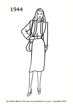 Costume History Silhouettes 1940s Free Line Drawings - 1944