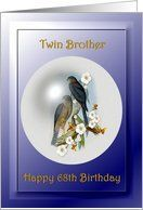 68th / Twin Brother / Birthday ~ Collared Sparrow Hawks Card by Greeting Card Universe. $3.00. 5 x 7 inch premium quality folded paper greeting card. Birthday greeting cards & photo cards are available at Greeting Card Universe. Birthday cards are always more memorable when they are sent the old-fashioned way. Let Greeting Card Universe help you find the best Birthday card this year. This paper card includes the following themes: Twin Brother Happy 68th Birthday, Bi...