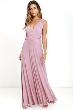 """Lulus Exclusive! Versatility at its finest, the Tricks of the Trade Mauve Maxi Dress knows a trick or two... or four! Two, 76"""" long lengths of fabric sprout from an elastic waistband and wrap into a multitude of bodice styles including halter, one-shoulder, cross-front, strapless, and more. Stretchy, jersey knit hugs your curves as you discover new ways to play with this fascinating frock. Full, maxi-length skirt has a raw hemline. Want Styling Tips? <a href='http://bit.ly/HowToWearIt'…"""