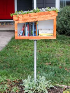 Little free libraries are popping up in neighborhoods everywhere. DIY Network has step-by-step instructions on how to build one for your front yard. Little Free Library Plans, Little Free Libraries, Little Library, Diy Pallet Furniture, Diy Pallet Projects, Garden Projects, Garden Furniture, Furniture Design, Little Free Pantry