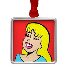 Blonde Bombshell Comic Strip Christmas Ornament--#Christmas #ornaments #holidays #comics #popart #retro #Zazzle