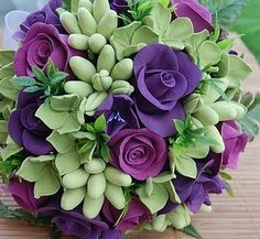 Beautiful purple and green bridal bouquet.