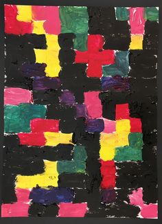 Kids abstract painting project using a grid.