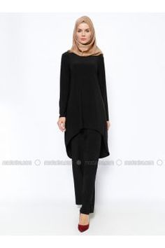 Tunik & Pantolon İkili Takım - Siyah - Topless #modasto #giyim #moda https://modasto.com/topless/kadin/br18160ct2