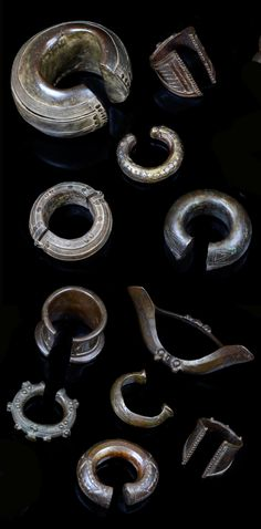 West Africa | Collection of 11 bracelets and anklets. | Brass |  Including pieces made by the Dan and Senufo of the Ivory Coast, the Frafra and Gurunsi of Burkina Faso and the Baule of the Ivory Coast | 350€ for the lot ~ sold (Mar '14)