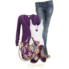 Pretty purple with a great boho chic bag!