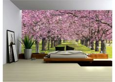 Wallpaper Mural ''FLOWERING TREES'' Fleece Photo Wallpaper Wall Murals (010VE)