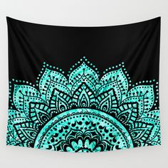 I'm forcefully reminded of Leigh <3 Buy Black and Blue Teal Mandala by haroulita as a high quality Wall Tapestry. Worldwide shipping available at Society6.com. Just one of millions of products available.