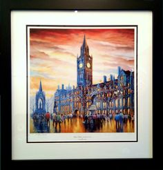 """Another framing order ready for Santa to deliver : Manchester Town Hall, limited edition fine art print by E. Anthony Orme titled :  """" Gothic Twilight """"  https://www.eanthonyorme.com/  GIFT VOUCHERS - NOW AVAILABE -  PURCHASE ONE TODAY !"""