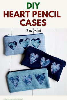 Learn how to make upcycled denim pencil cases. The tutorial demonstrates Shibori. - Learn how to make upcycled denim pencil cases. The tutorial demonstrates Shibori… - Pencil Case Pattern, Pencil Case Tutorial, Diy Pencil Case, Wallet Tutorial, Pencil Holder, Sewing Hacks, Sewing Tutorials, Sewing Projects, Sewing Tips