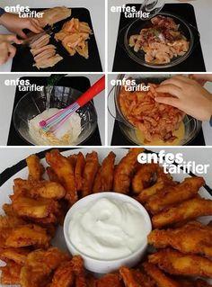 Yalancı Kalamar Tarifi için Malzemeler 500-600 gram tavuk göğsü Tuz Karabiber Pul biber Kekik. Sos için; 1 şişe soda 5 yemek kaşığı un 1 yumurta 1 tatlı kaşığı karbonat Servis için; Yoğurtlu sos 1 çay bardağı yoğurt 1 diş sarımsak 3 yemek kaşığı mayonez Yalancı Kalamar Yapılışı Tavuğu parmak kalınlığında doğrayın. Baharatları ve tuzu ekleyip elinizle tavukları güzelce ovun. 1-2 saat buzdolabında dinlendirin. Sos için yumurtayı bir kase içinde çırpın. Kase içine diğer sos malzemelerini de…