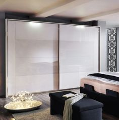 Rauch Xtend Sliding Wardrobe with Frame - Alpine White and Crystal White Wave Effect Glass