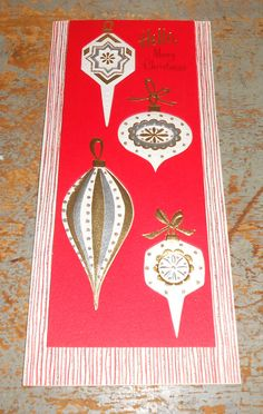 Vintage Cards, Christmas, Ornaments, Red,  Hallmark, Christmas Cards, Unused, Set of Four