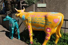 Fibre glass cow with calf, London Zoo