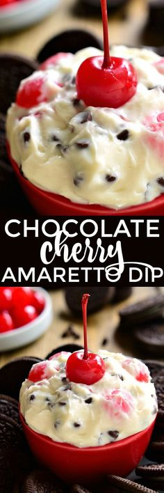 This Chocolate Cherry Amaretto Dip is sweet, creamy, and SO delicious! Perfect for Valentine's Day....or just because!