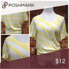 """Yellow striped top Pre loved yellow striped dolman tee. Loose fit up top and banded at waist. Slightly sheer. Brand is Express. Size Xsmall: 18""""UA, 24""""L. Express Tops Blouses"""