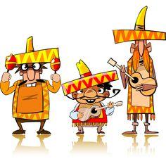 Mariachis tipo cartoon, imagen vectorial