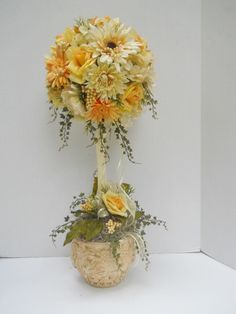 Silk Flower Topiary Floral Arrangement, Table Decor #Handmade