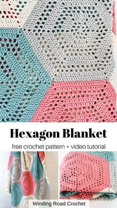 Easy hexagon crochet blanket or baby blanket. Free pattern by Winding Road Crochet. Learn to crochet a open stitch crochet hexagon blanket. Free crochet pattern by Winding Road Crochet. Plus Video Tutorial. Crochet Hexagon Blanket, Hexagon Crochet Pattern, Free Pattern, Crochet Patterns For Blankets, Crocheted Baby Blankets, Crochet Blanket Tutorial, Crochet Throws, Hexagon Quilt, Crochet Video